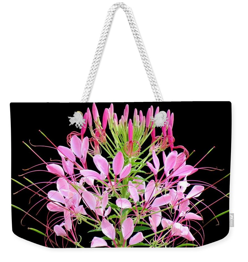Weekender Tote Bag featuring the photograph Neon Cleome by MTBobbins Photography
