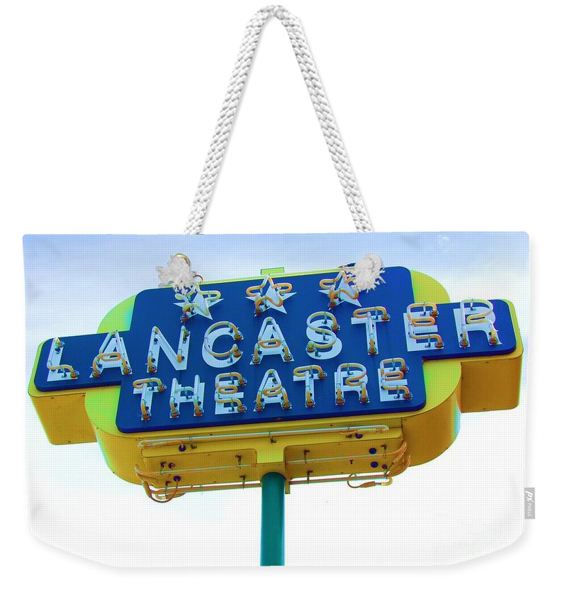 Sign Weekender Tote Bag featuring the photograph Neon by Debbi Granruth