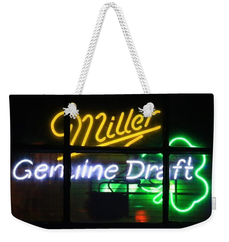 Neon Weekender Tote Bag featuring the photograph Neon Miller Beer by Douglas Sacha