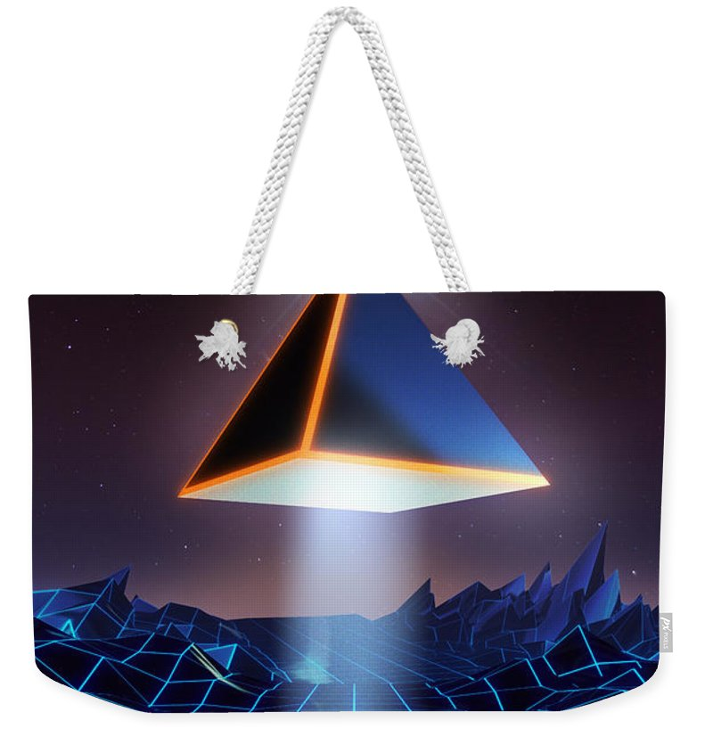 Tron Weekender Tote Bag featuring the painting Neon Road by Pixel Chimp