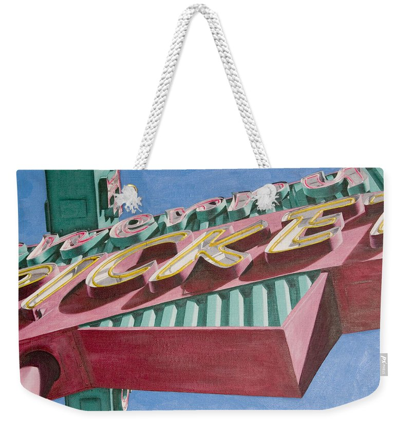 Oil Weekender Tote Bag featuring the painting Neon Sign Cherry Cricket by Rob De Vries