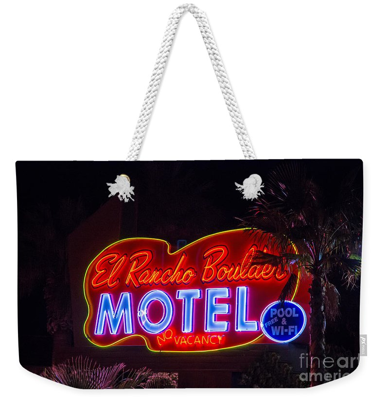 Boulder City Weekender Tote Bag featuring the photograph Neon Sign by Stephen Whalen