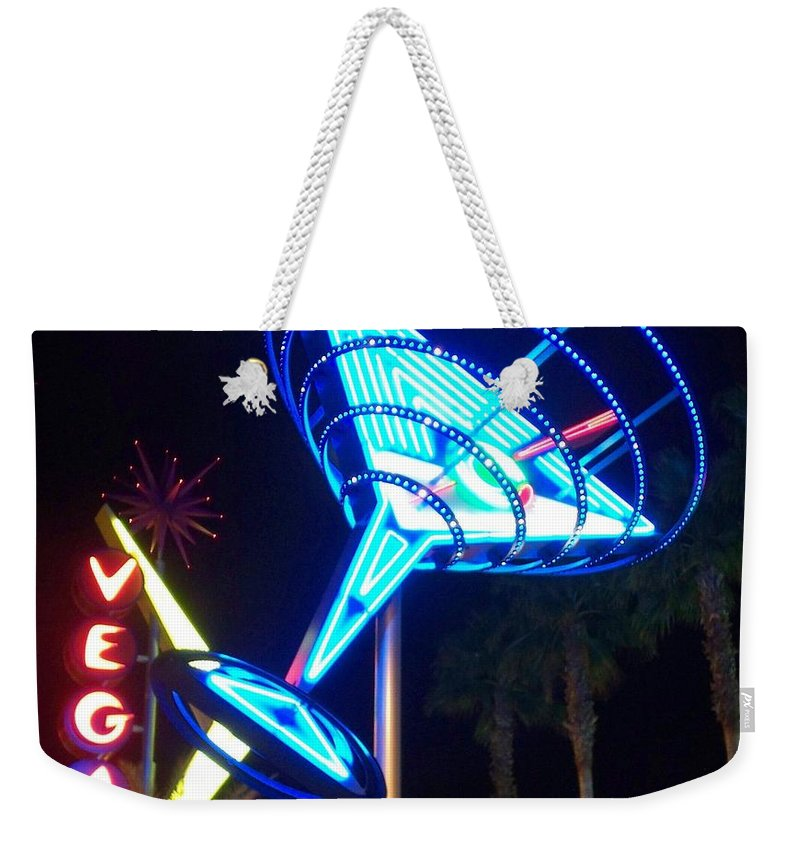 Vegas Weekender Tote Bag featuring the photograph Neon Signs 1 by Anita Burgermeister