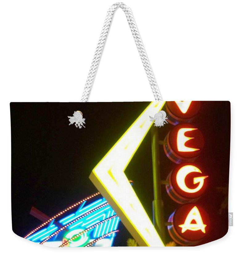 Fremont East Weekender Tote Bag featuring the photograph Neon Signs 3 by Anita Burgermeister