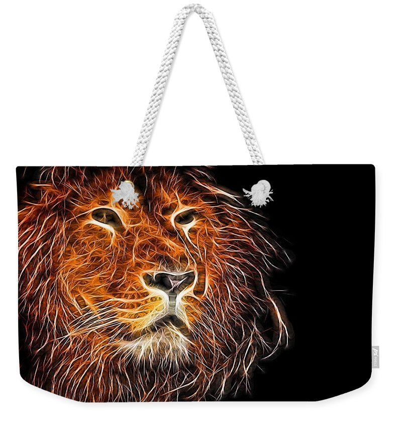 Lion Weekender Tote Bag featuring the photograph Neon Strong Proud Lion On Black by John Williams