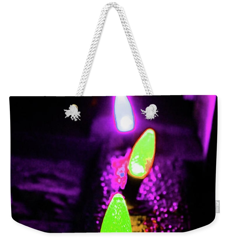 Neon Weekender Tote Bag featuring the digital art Neon Xlights by Tania Vojvodic