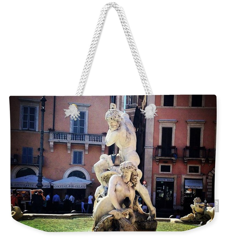 Rome Weekender Tote Bag featuring the photograph Neptune by Angela Rath