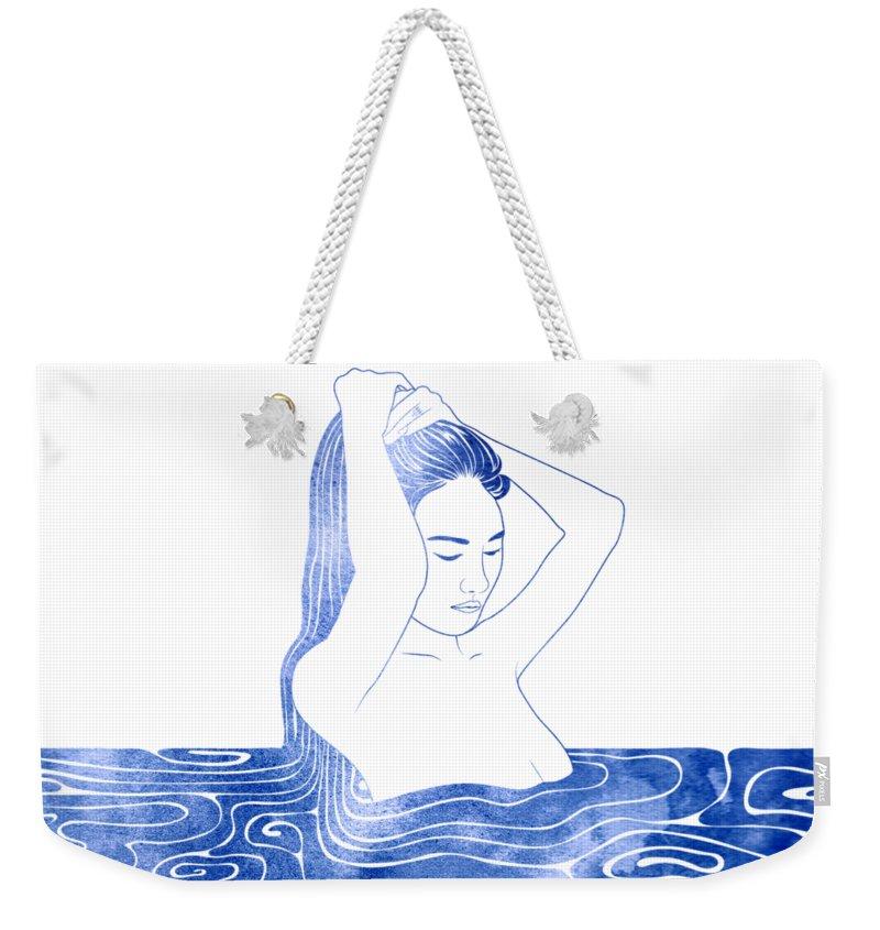 Selkie Weekender Tote Bag featuring the mixed media Nereid Viii by Stevyn Llewellyn
