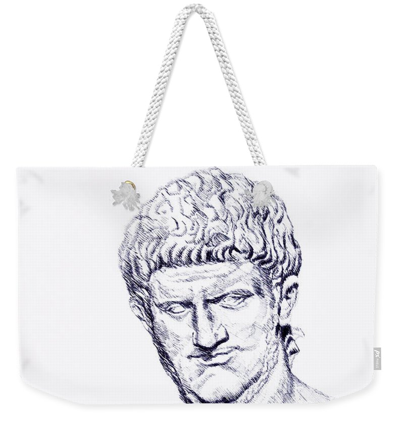 Political Weekender Tote Bag featuring the drawing Nero Roman Emperor Series Ancient Rome by Alessandro Nesci