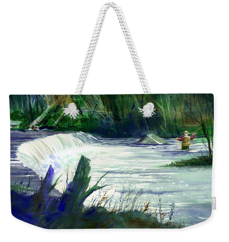 Neshannock Creek Weekender Tote Bag featuring the painting Neshannock Sunday by Lee Klingenberg