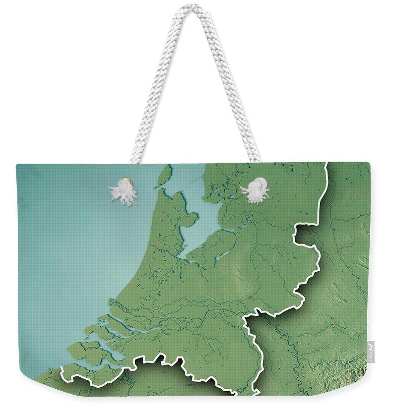 Netherlands Topographic Map.Netherlands Country 3d Render Topographic Map Border Weekender Tote