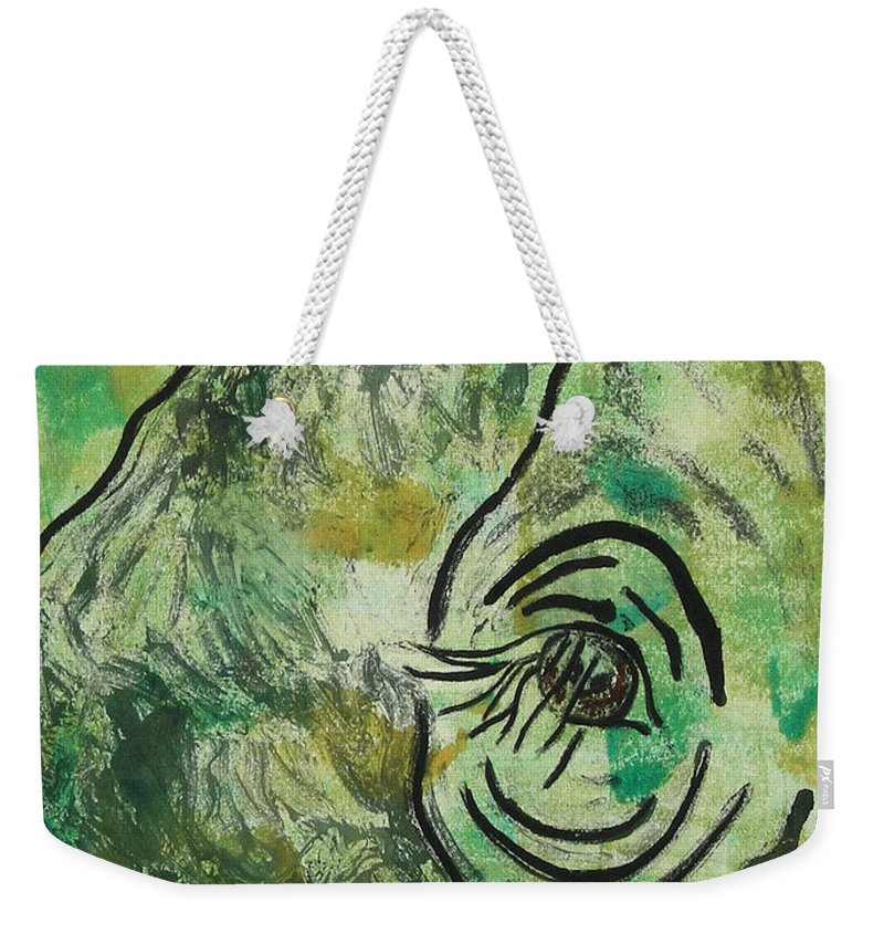 Monotype Weekender Tote Bag featuring the mixed media Never Forgotten by Cori Solomon