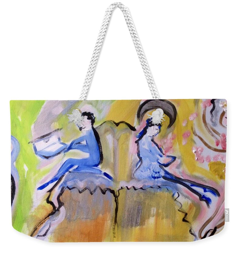 Twain Weekender Tote Bag featuring the painting Never The Twain by Judith Desrosiers