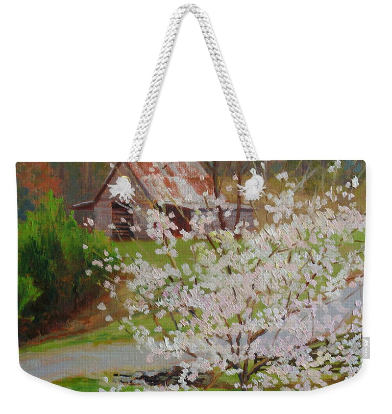 Landscape Weekender Tote Bag featuring the painting New Blossoms Old Barn by Keith Burgess