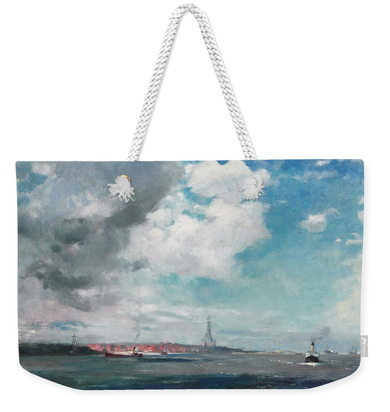 Seascape Weekender Tote Bag featuring the painting New Brighton From The Mersey by JH Hay