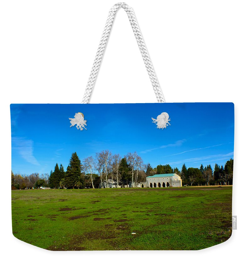 Landscape Weekender Tote Bag featuring the photograph New Clairvaux Abbey by Tikvah's Hope