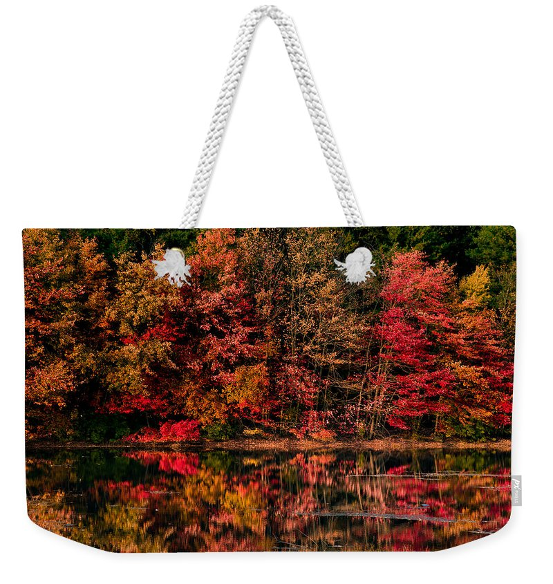 #jefffolger #vistaphotography Weekender Tote Bag featuring the photograph New England Fall Foliage Reflection by Jeff Folger
