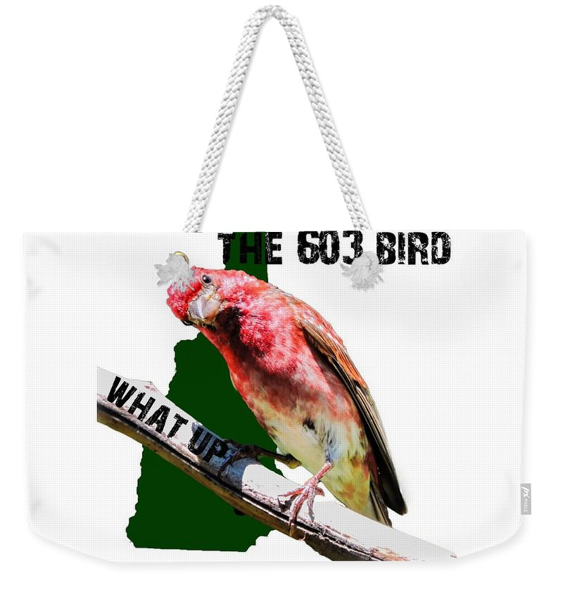 T-shirt Weekender Tote Bag featuring the photograph New Hampshire State Bird The Purple Finch by Mim White