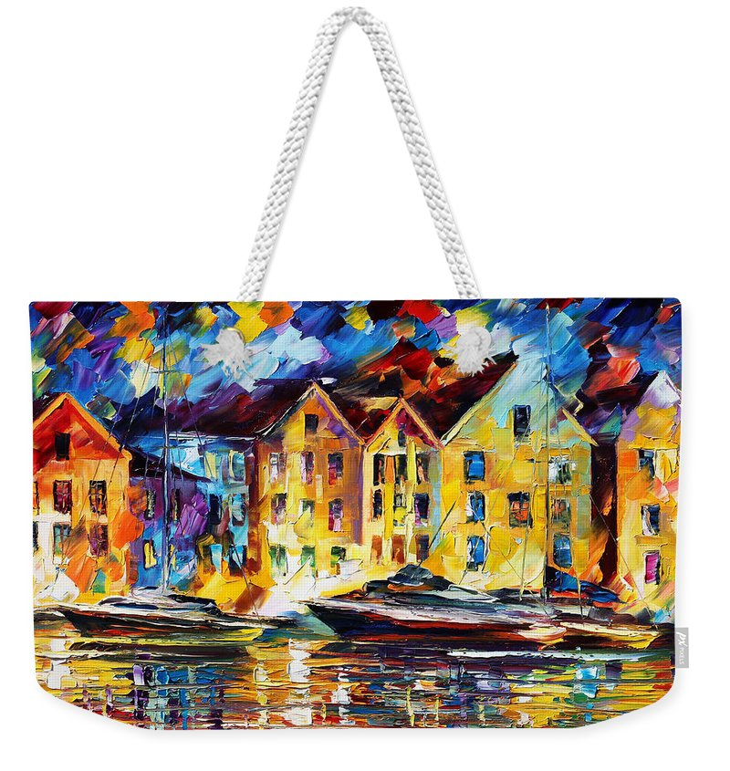 Afremov Weekender Tote Bag featuring the painting New Harbor by Leonid Afremov
