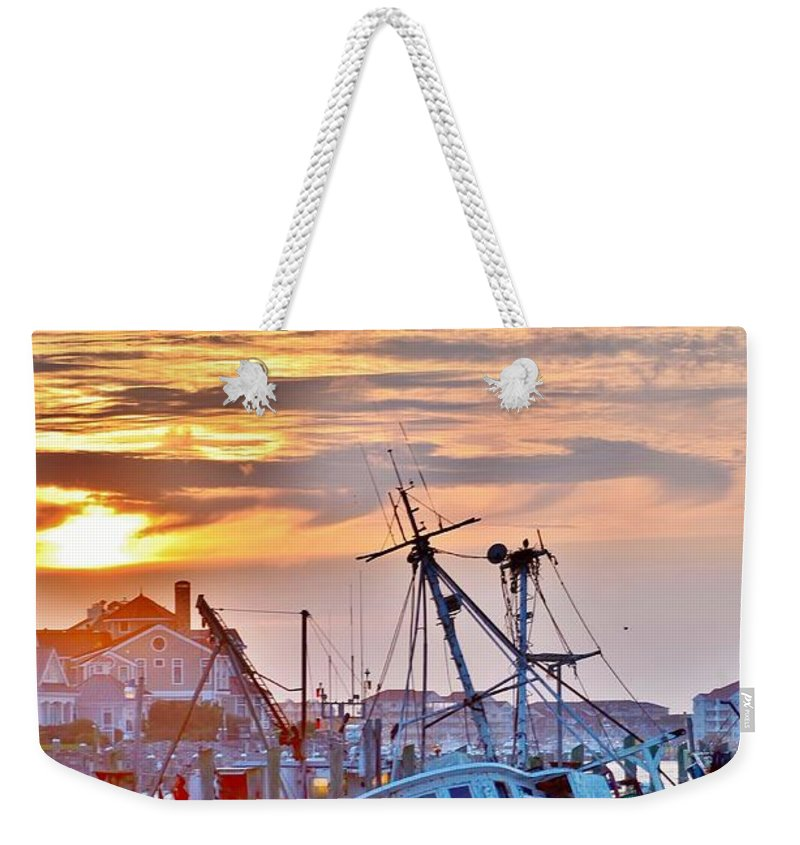 Boat Weekender Tote Bag featuring the photograph New Hope Sunrise - Sunken Ship At West Ocean City Harbor by Kim Bemis