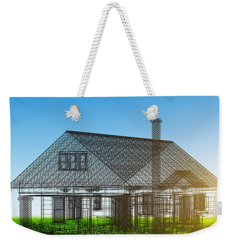 House Weekender Tote Bag featuring the photograph New House Wireframe Project On Green Field by Michal Bednarek