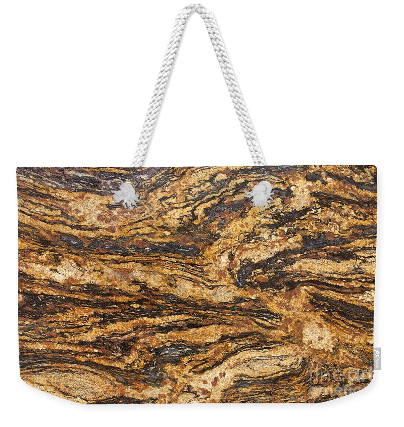 Granite Weekender Tote Bag featuring the photograph New Magma Granite by Anthony Totah