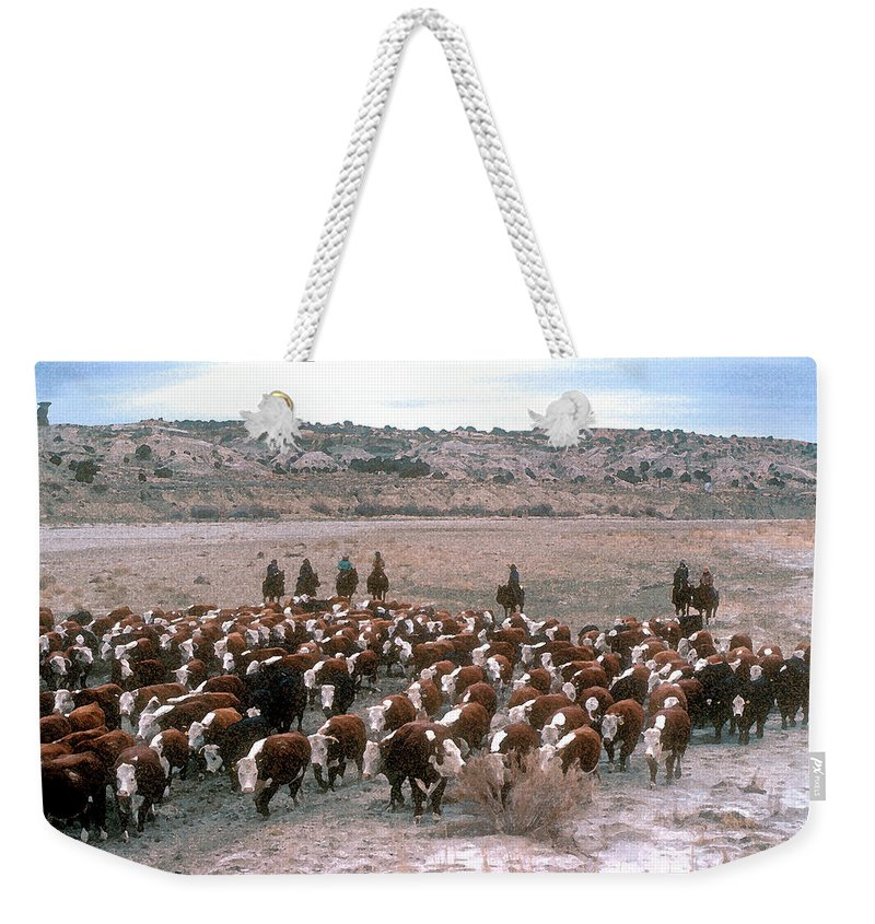 Cows Weekender Tote Bag featuring the photograph New Mexico Cattle Drive by Jerry McElroy