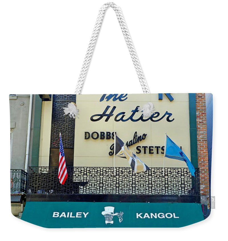 Meyer Weekender Tote Bag featuring the photograph New Orleans Hatter by Robert Meyers-Lussier