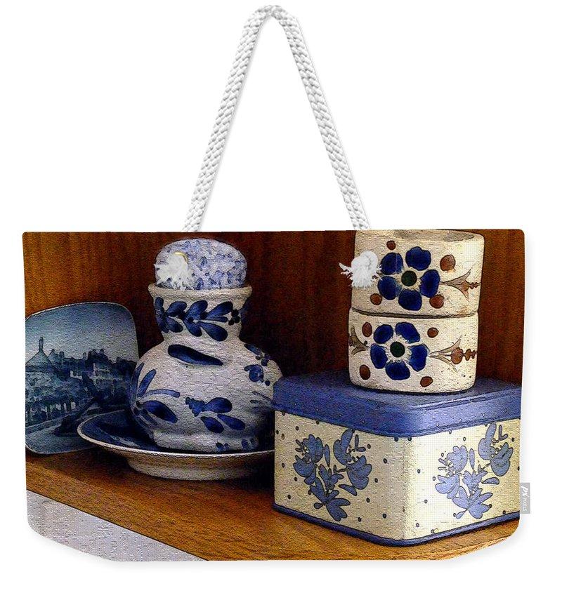 Box Weekender Tote Bag featuring the digital art New Shelf Old Memories by RC DeWinter