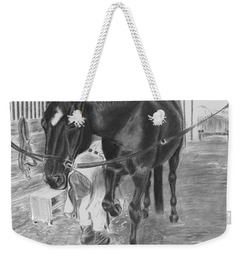 Horse Weekender Tote Bag featuring the drawing New Shoes by Quwatha Valentine