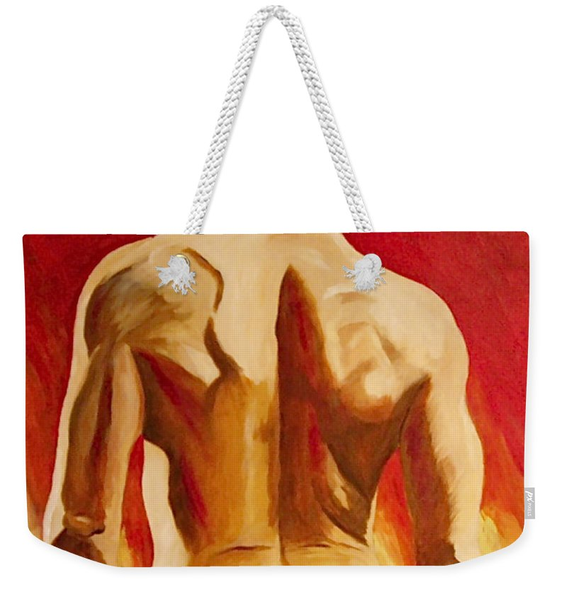 Nude Tatto Red Hot Weekender Tote Bag featuring the painting New Tattoo by Herschel Fall