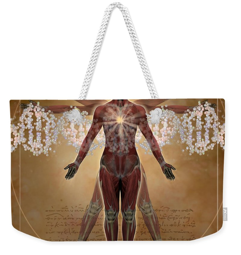 Illustration Weekender Tote Bag featuring the digital art New Vitruvian Woman by Jim Dowdalls and Photo Researchers