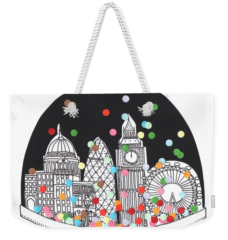 Happy New Year Weekender Tote Bag featuring the drawing New Year by Isobel Barber