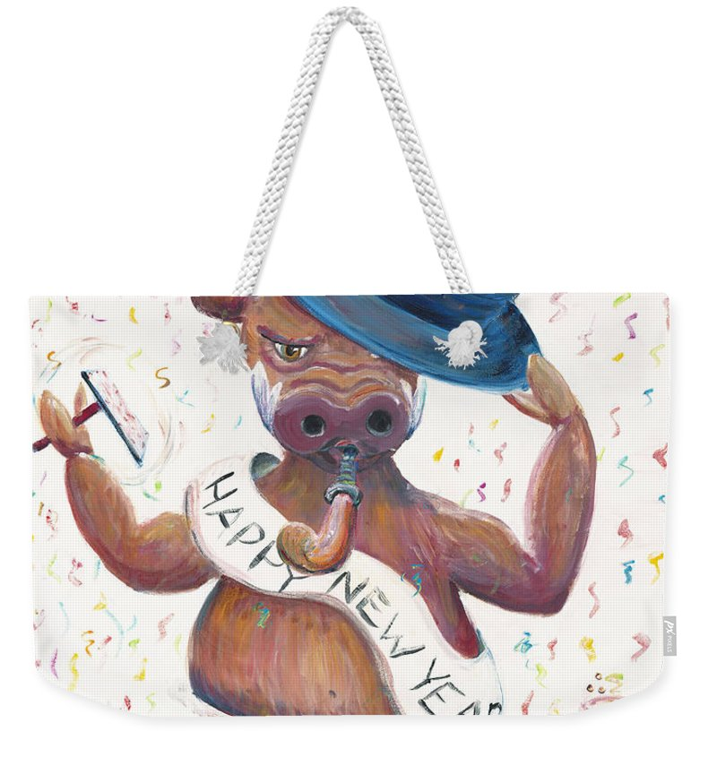 Hog Weekender Tote Bag featuring the painting New Years Hog by Nadine Rippelmeyer
