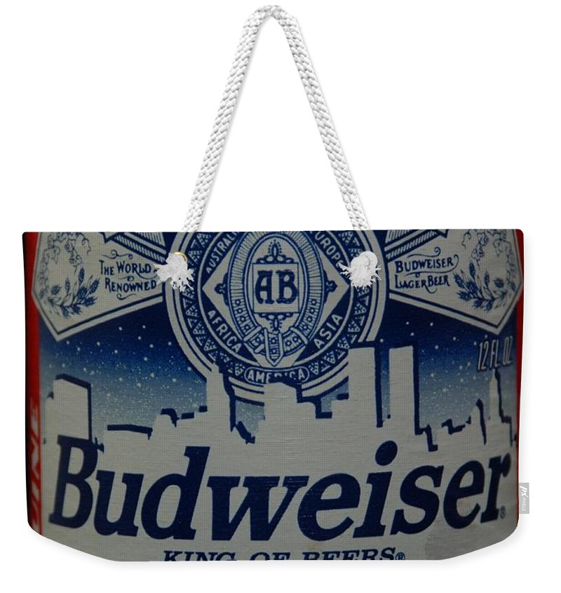 Budweiser Weekender Tote Bag featuring the photograph New York Bud by Rob Hans