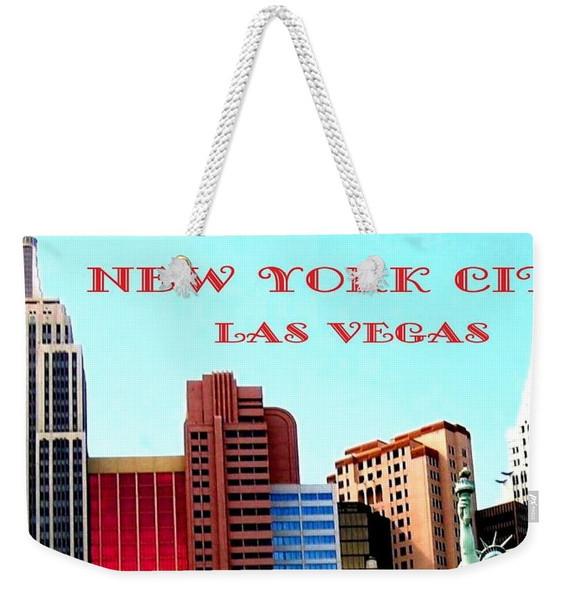 Poster Weekender Tote Bag featuring the digital art New York City- Las Vegas by Will Borden