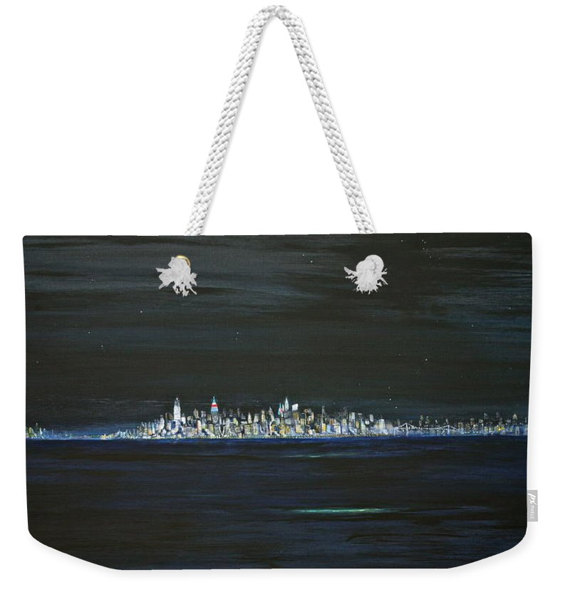 Manhattan Weekender Tote Bag featuring the painting New York City Nights by Jack Diamond