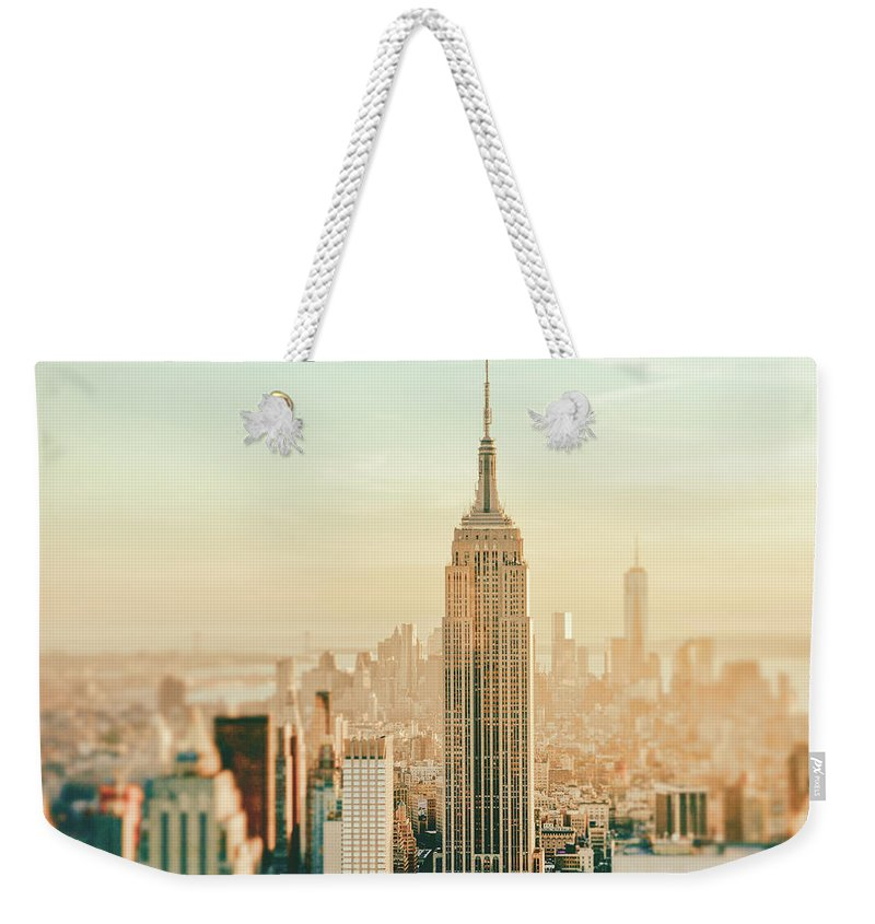Nyc Weekender Tote Bag featuring the photograph New York City - Skyline Dream by Vivienne Gucwa