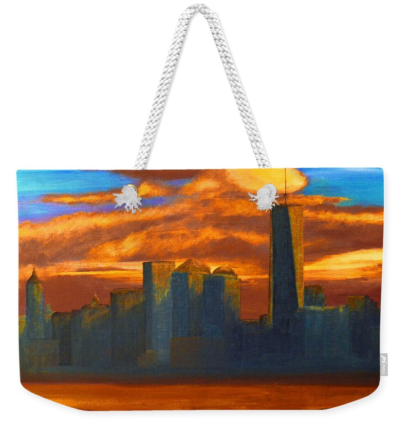 Queens Weekender Tote Bag featuring the painting New York City Skyline Painting by Ken Figurski