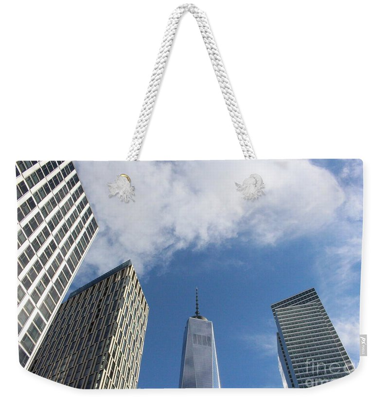 Nyc Weekender Tote Bag featuring the photograph New York City's Freedom Tower - A Perspective by Dora Sofia Caputo Photographic Design and Fine Art