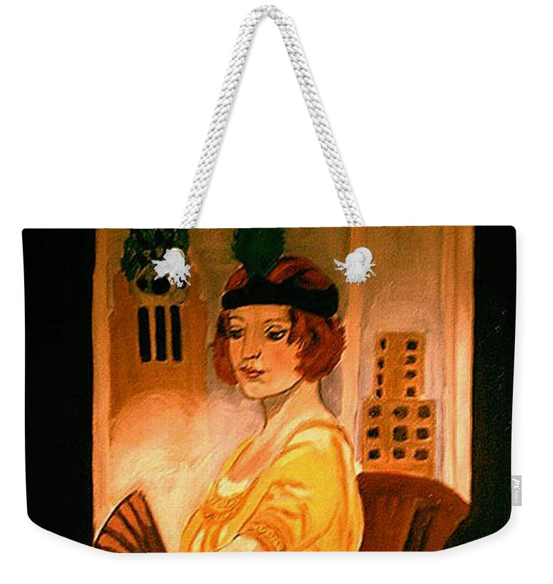 New York Weekender Tote Bag featuring the painting New York Fantasy by Rusty Gladdish