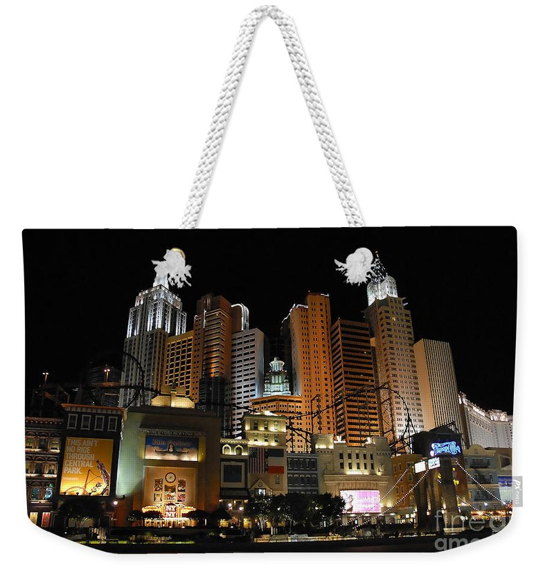 New York Weekender Tote Bag featuring the photograph New York Las Vegas by David Lee Thompson