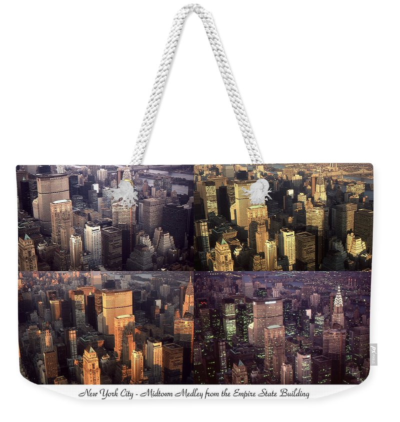 New_york Weekender Tote Bag featuring the photograph New York Mid Manhattan Medley - Photo Art Poster by Peter Potter