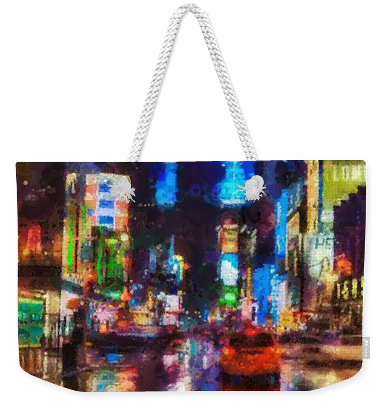 New York Weekender Tote Bag featuring the painting New York by Mo T