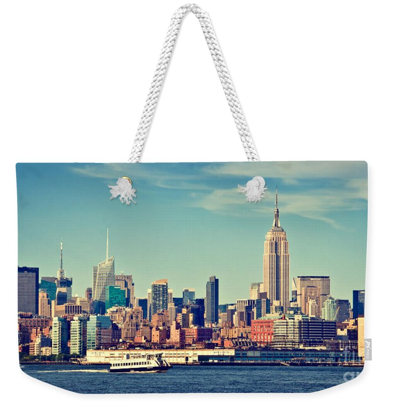 New York Weekender Tote Bag featuring the photograph New York Panorama by Delphimages Photo Creations