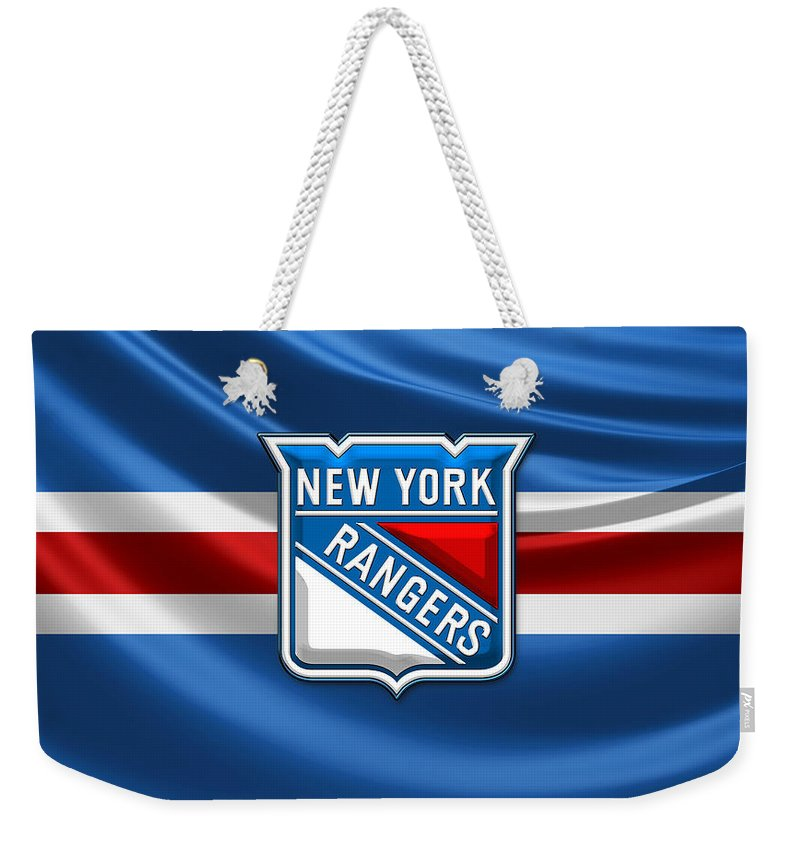 �hockey Hall Of Fame 3d� By Serge Averbukh Weekender Tote Bag featuring the photograph New York Rangers - 3D Badge Over Flag by Serge Averbukh