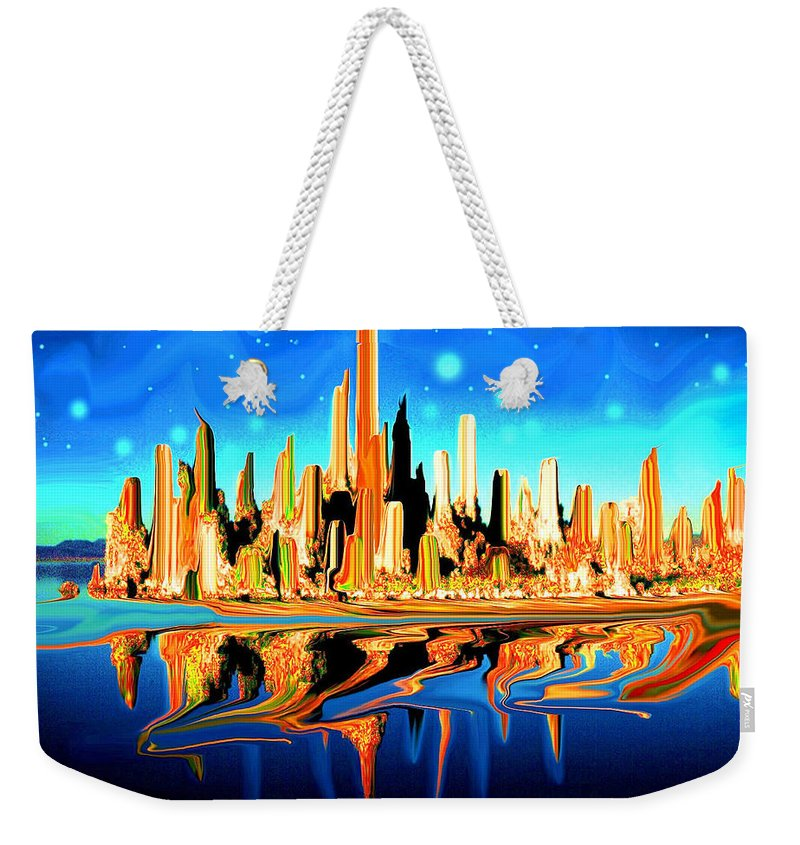 New+york Weekender Tote Bag featuring the painting New York Skyline Blue Orange - Modern Art by Peter Potter