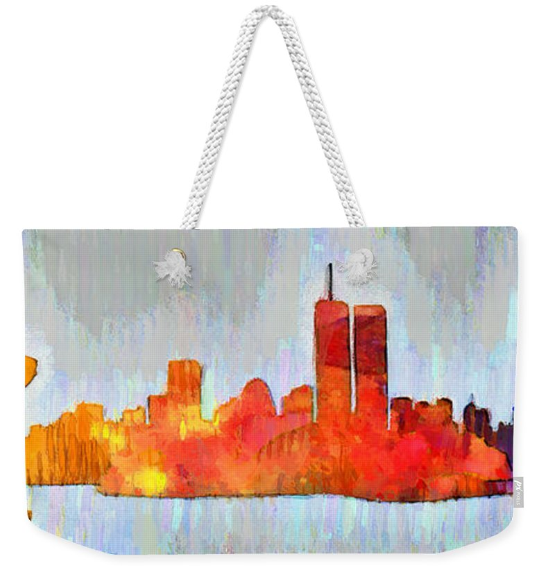 New York City Skyline Weekender Tote Bag featuring the painting New York Skyline Old Shapes 3 - Pa by Leonardo Digenio