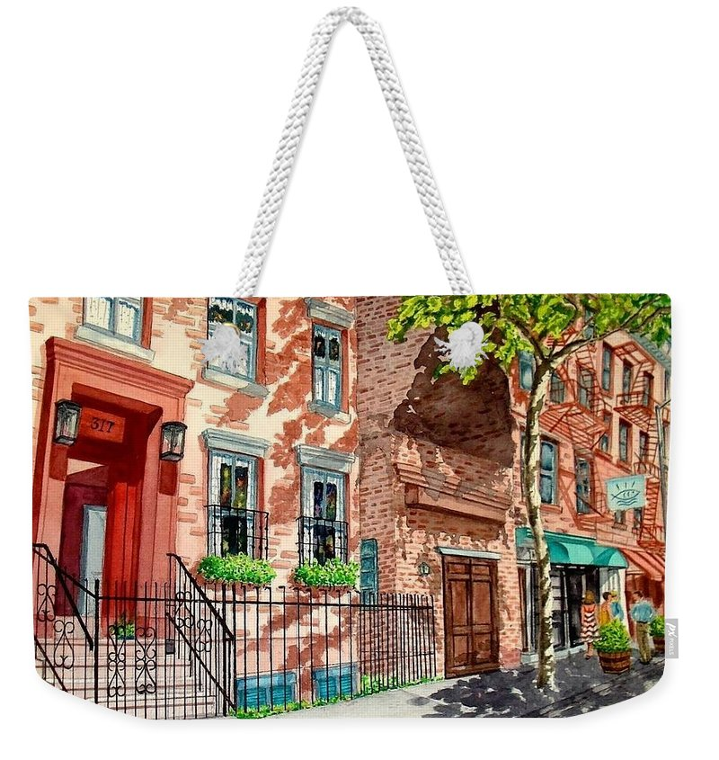Street Scene Weekender Tote Bag featuring the painting New York by Sonya Catania