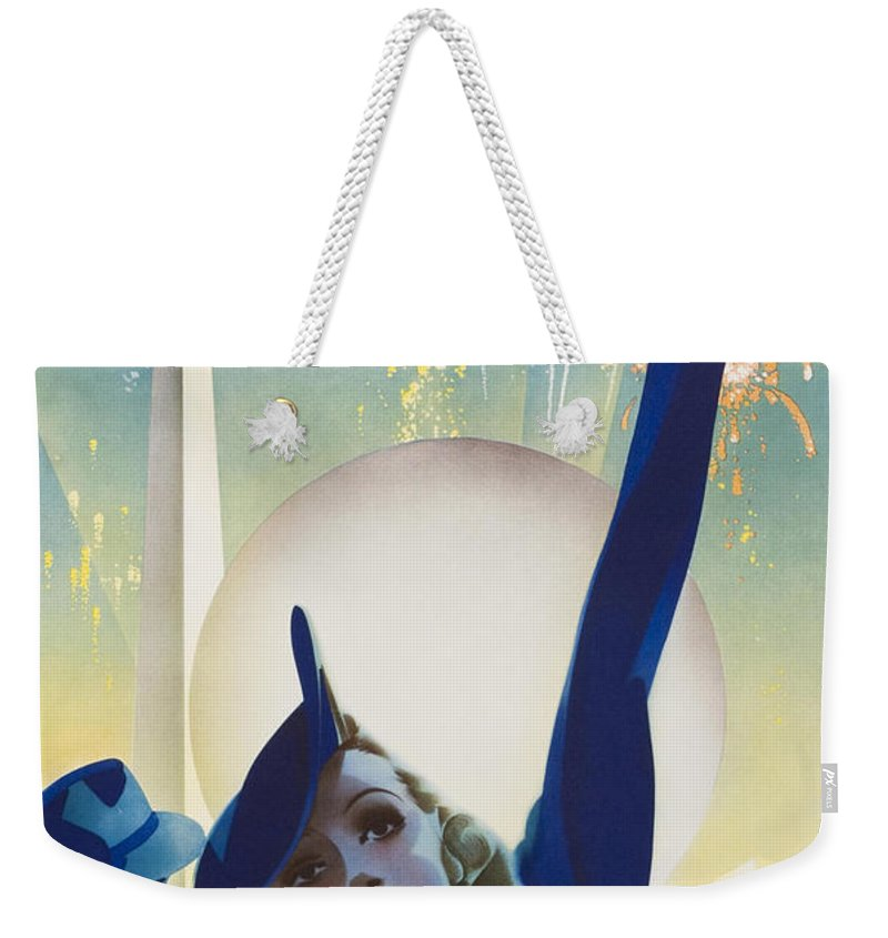 New York Weekender Tote Bag featuring the painting New York, World Fair, Firework, Woman In Blue Dress by Long Shot